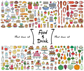 Vector set with hand drawn isolated colored doodles on the  theme of food and drink