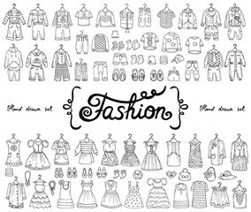 Vector set with hand drawn isolated doodles on the theme of fashion for boys and girls