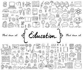Vector set with hand drawn isolated doodles on the  theme of education