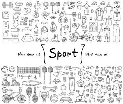 Vector set with hand drawn isolated doodles on the  theme of sport