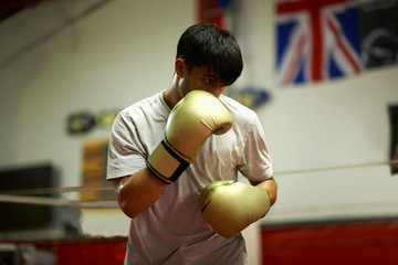 Boxer practising in boxing ring