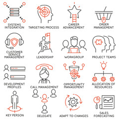 Vector set of 16 icons related to business management, strategy, career progress and business process. Mono line pictograms and infographics design elements - part 36