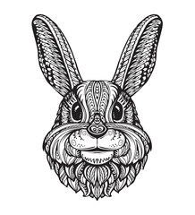 Rabbit or Bunny head isolated on white background. Hand drawn vector illustration of an ethnic style