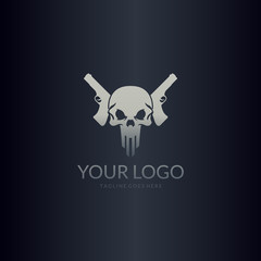 Skull with guns logo. Excellent logo for computer game or studio.