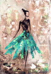abstract woman in dress, oil painting
