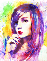 beautiful woman, watercolor painting, colorful