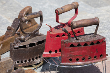 old iron and tools