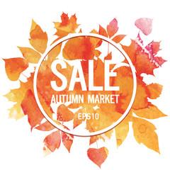 Golden autumn, seasons sale, market, leaves of bouquet, handmade painted, abstract vector design art