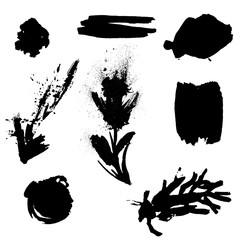 set of grunge elements, silhouettes