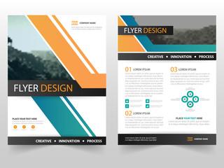Green Orange Vector business proposal Leaflet Brochure Flyer template design, book cover layout design, abstract business presentation template, a4 size design