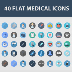 Set of vector flat isolated medical icons with long shadow for web and apps. Business concept of healthcare. Illustration of doctor equipment.