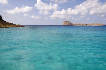 Gramvousa island near Balos beach in Crete, Greece. Pure turquoise waters