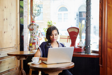Young woman sitting in cafe, using laptop