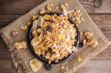 healthy muesli in bowl