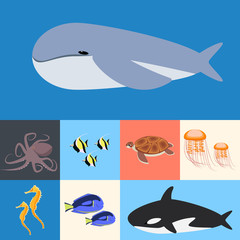 Ocean, ocean collection  fish. Flat vector illustration