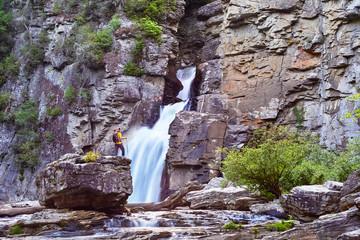 Male hiker at Linville Falls, Blue Ridge Parkway, North Carolina, USA