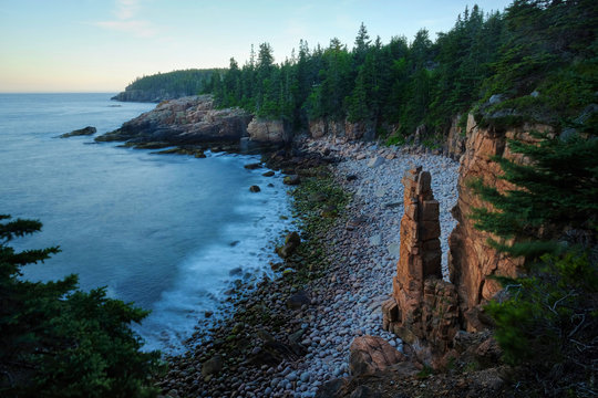 View of monument cove and atlantic ocean, Acadia National Park, Maine, USA