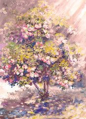oil painting, tender blooming bush with flower, spring landscape