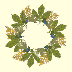 Vector round frame with leaves and blueberries.