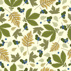 Pattern with leaves and blueberries
