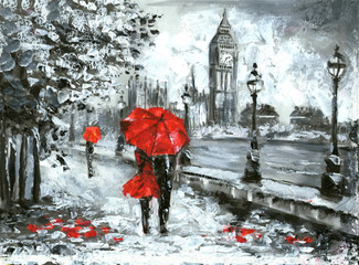 oil painting, street view of london. Artwork, Black, white and red, big ben