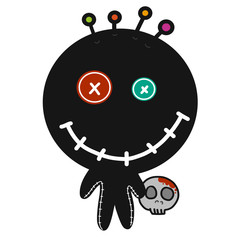 Black voodoo doll cartoon illustration
