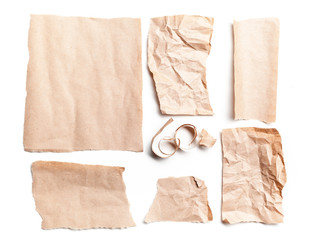 Recycled paper on white background.