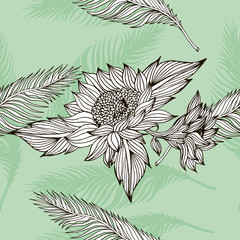 feather and flowers vector pattern
