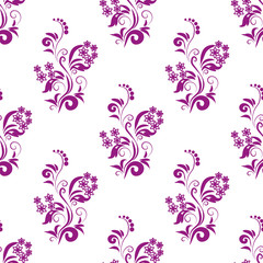 Purple natural plant seamless pattern on white background
