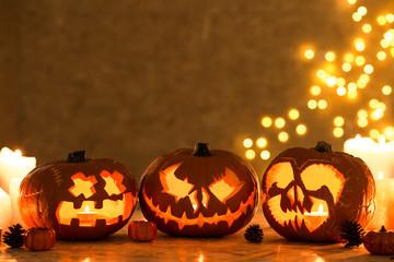 Three creepy pumpkins