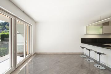Interior, room with kitchen