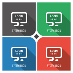 system login flat vector icon on colorful background. simple PC web icons eps8.