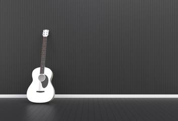 Acoustic guitar in a black room, 3D rendering