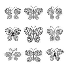 Fingerprint hand drawn butterfly