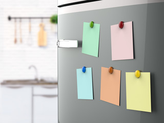 empty notes on refrigerator