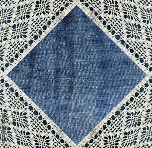 quotjeans and lace background with denim and handmade lace