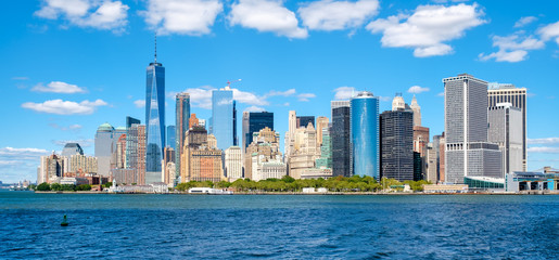 The downtown Manhattan skyline on a beautiful summer day