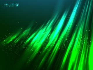 Green aurora polar light vector abstract background