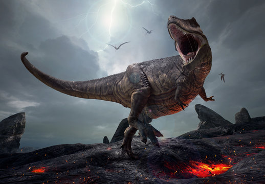 3D rendering of the king of dinosaurs, Tyrannosaurus Rex, in a harsh prehistoric world.