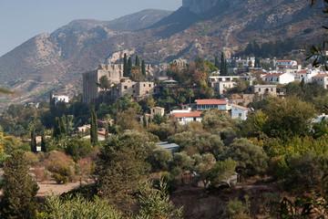 Village and Bellapais abbey near Kyrenia (Girne), Northern Cyprus.
