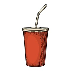 Paper red cup with straws for cola. Isolated on white background.