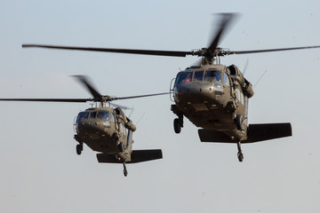 Military helicopters landing