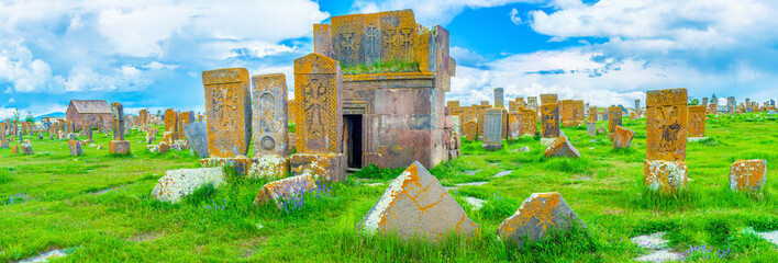 Panorama of the cemetery with khachkars