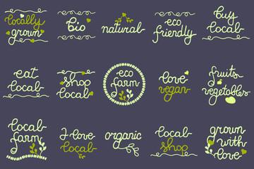 Big Set of eco logo, labels for cafe, farmers market, festival, shop, local marketing. Buy local, vegan, natural, fruits, vegetables, local.