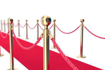 Red Carpet fence pole with ropes. Depth of field effect. 3d illustration