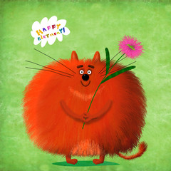 Birthday Card Big Round Cat With Flower And Grasshopper