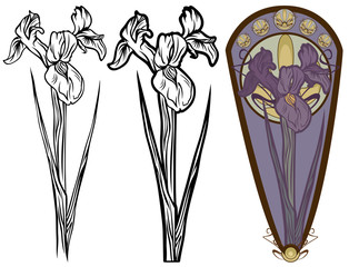 iris  flower art nouveau style design set