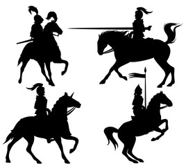 knights black vector silhouette set
