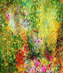 Abstract flowers watercolor painting. Spring multicolored flowers