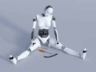 3D rendering of a broken female robot.